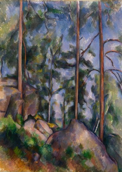 Cezanne, Paul: Pines and Rocks. Fine Art Print/Poster. Sizes: A4/A3/A2/A1 (004223)